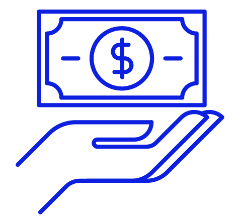 Hand with coin dollar sign money symbol